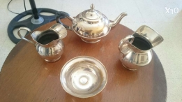 Very old silver Teapot made in England antique 3 pieces. فضه فضة انتيك