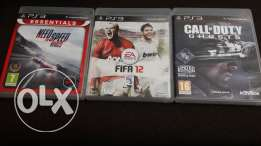 3 games used for ps3