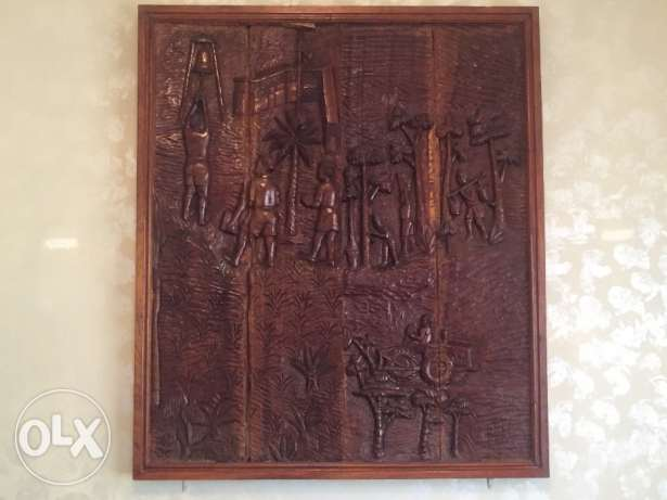 A large wooden art/historic peice.