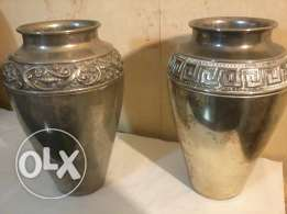 Old Two Vases, 35cm, heavy copper w chrome, more than 50 years old
