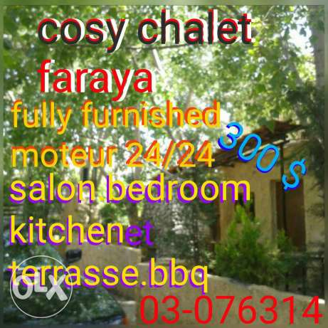 Cosy chalet/furnished+moteur 24/faraya