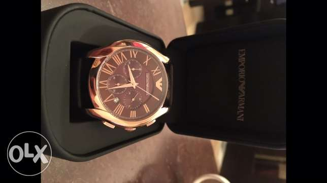 the new EA brown and rose gold leather watch وسط المدينة -  4