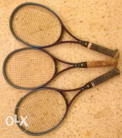 3 used puma tennis rackets in a very good conditions