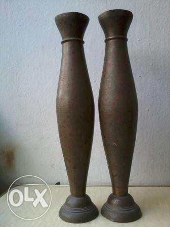 Old long Vases, 2, heavy copper decorated, 40cm