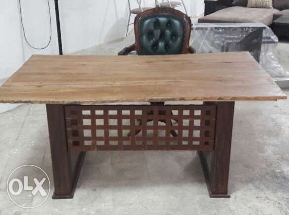 Hand made steel and wood office table