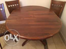 Wooden antique round table with 4 chairs,