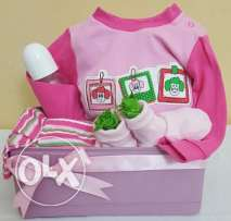 Baby shower gift for girl(174 Green Feutine flower basket)