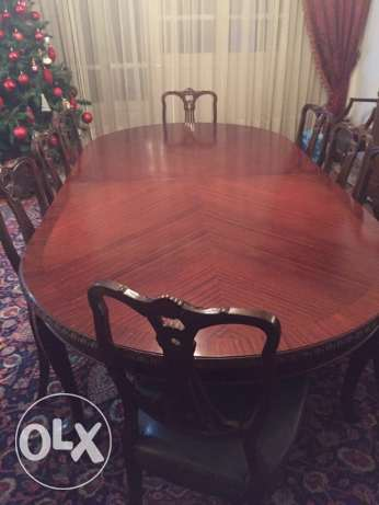 Antique dining table with cabinet, perfect condition