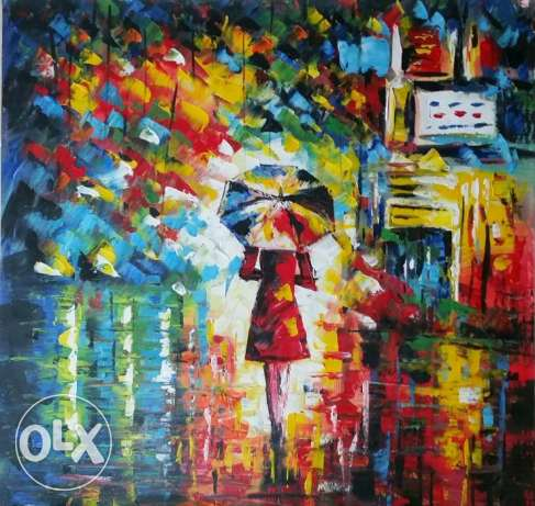 Oil Painting - Huile sur toile - Girl in the Rain - 70 x 70 cm