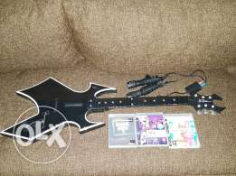 Guitar + Singstar Microphones + 3Games