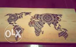 wood drawing world map