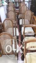 Wooden table and 12 chairs