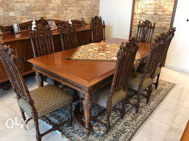 Antique dining table, chairs and buffet