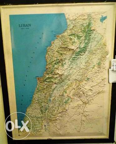 Old Lebanon Map with black frame, embossed collectors