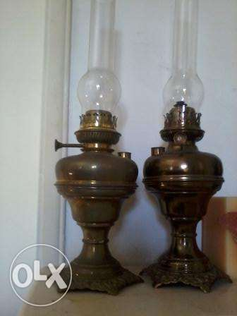 Paires old Lamps, 135 years, heavy copper, L&B Brevettee 60cm, each 10