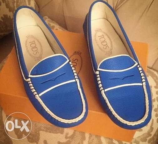 Original navy & white leather loafers