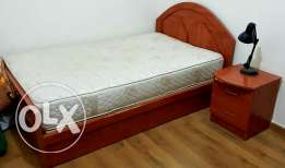 Bed + Mattress + night stand تخت + فرشة + كومود