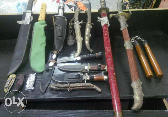 Collection of Martial Arts Knives and Swords