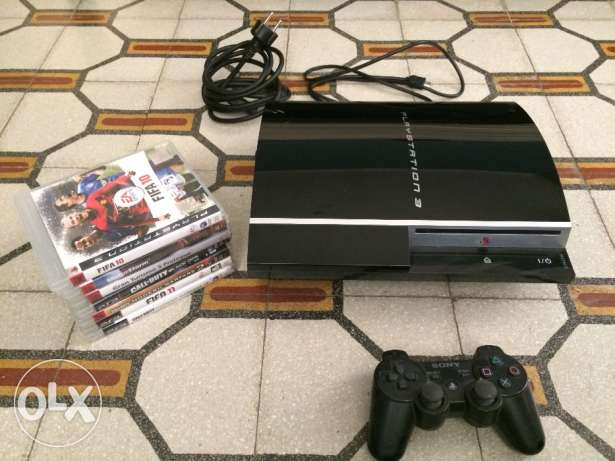 PS3, 2 controllers & 6 games