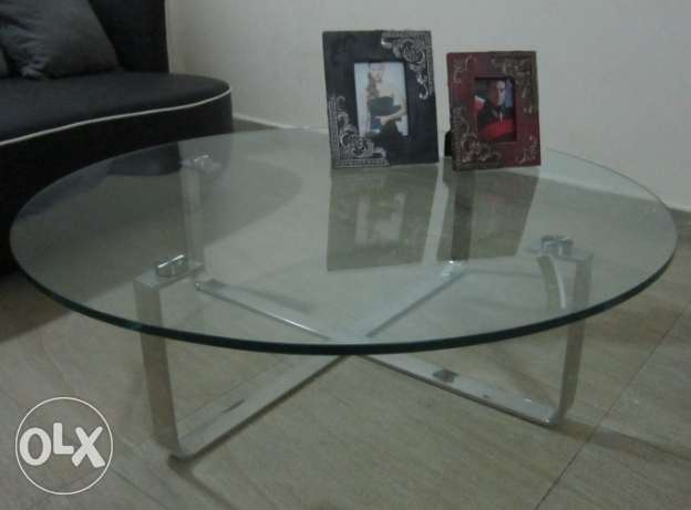 New Glass Coffee with chrome legs (Zouk Mosbeh)