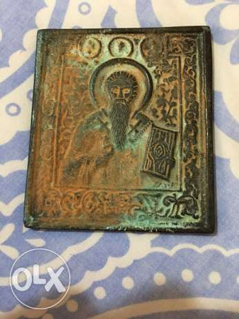 late 19th century heavy patinated bronze Russian icon of St. Nicholas