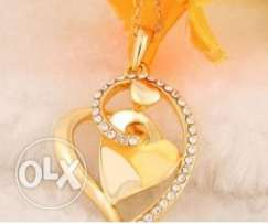 Gold heart love crystal necklace