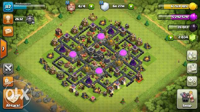 Clash Of Clans lvl 117 TH9 MAXED with 2034 GEMS AND 4 BUILDERS!