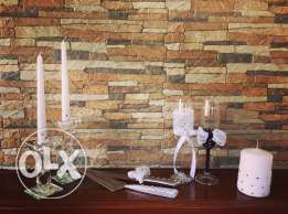 Blinged Out Champagne Glasses With Cake Server And Knife & Candle Sets