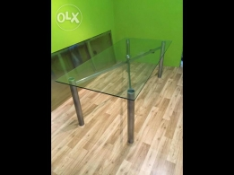 Glass Table with stainless steel base