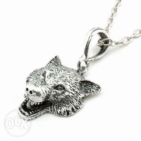 Game Of Thrones Stark Wolf Head Pendant necklace الدورة -  1