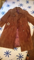 Trench Coat Echtes Leder made of deer leather Imported from Germanyجلد
