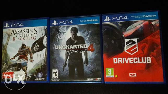 Uncharted 4 / driveclub / black flag for sale or trade