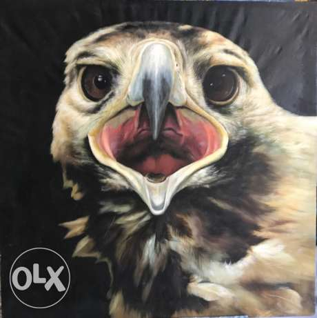 Beautiful Higly Detailed Eagle Oil Painting For Sale.