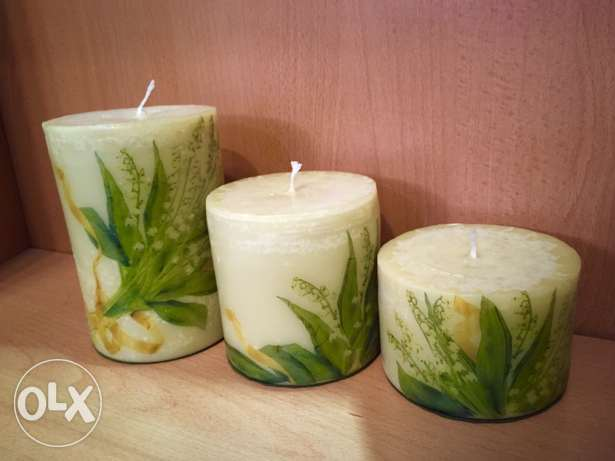 Hand painted 3 candle set