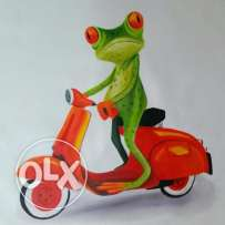 Oil painting - Frog on Motorcycle - 60 x 60 cm.