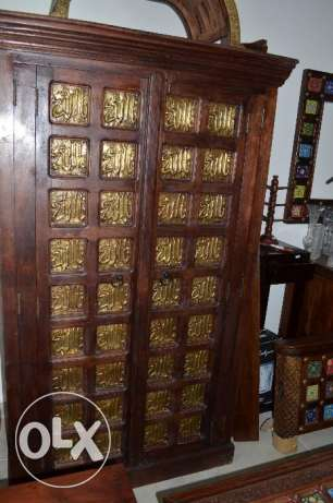 solid woodwith copper cupboard with shelves
