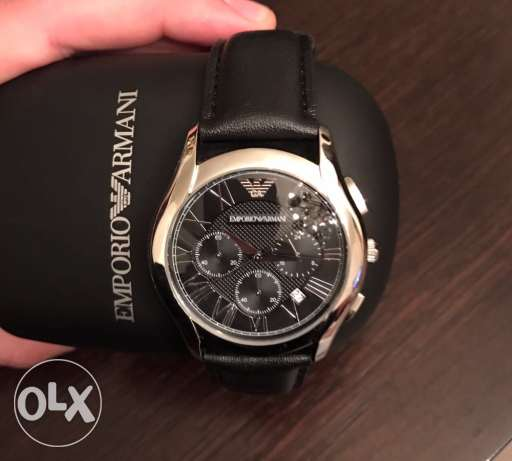 The 2017 new fancy black leather Emporio Armani watch for men