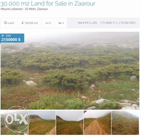 30,000 m2 land for sale in Zaarour ( sea view / mountain view)