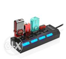 4 Port USB Hub Splitter 480Mbps With Separate On / Off Switch