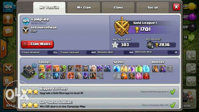 90% Maxed th9 for sale 150$