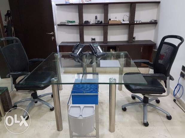 Office Desk in Glass & 316 Stainless Steel