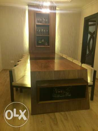 Dinig table valnut and wenge wood 10 chairs Alcantara I very good cond
