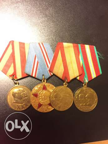 group soviet medals for the soviet army anniversary
