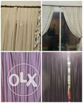 4 curtains with hangers and chrystal holder