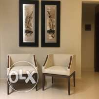 Modern classy leather ofwhite chairs