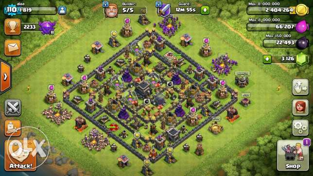 clash of clans th9 max+ change name+ link + 3140gems بعبدا -  1