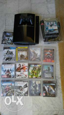 Playstation 3 (ps3) + 13 Games + Singstar (2 mics) + 5 blueray movies جديدة -  1