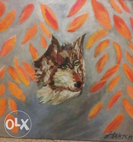 "Hand Made Oil Painting - ""Fox Behind the Bush"""