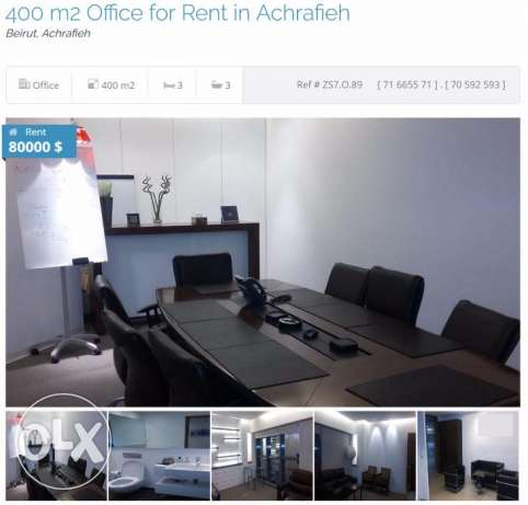 400 m2 Office for rent in Achrafieh