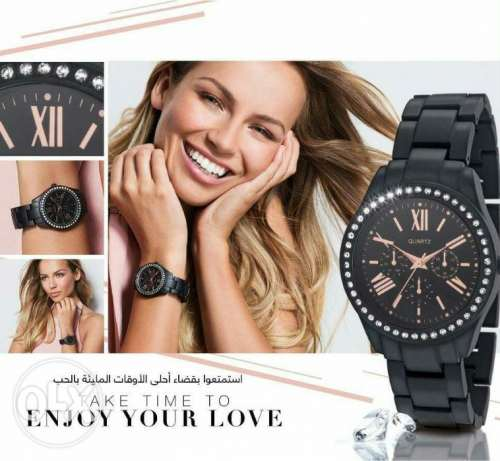 Avon black metalic watch free delivery in beirut , new